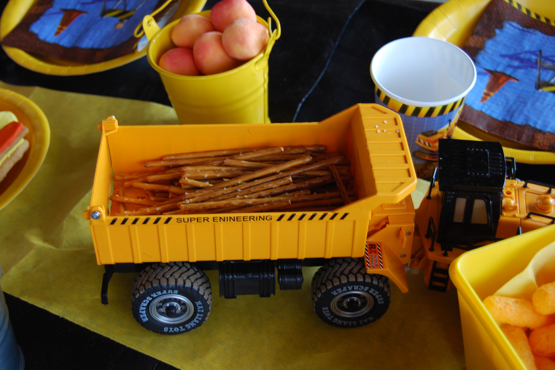 construction site theme party sweets table.